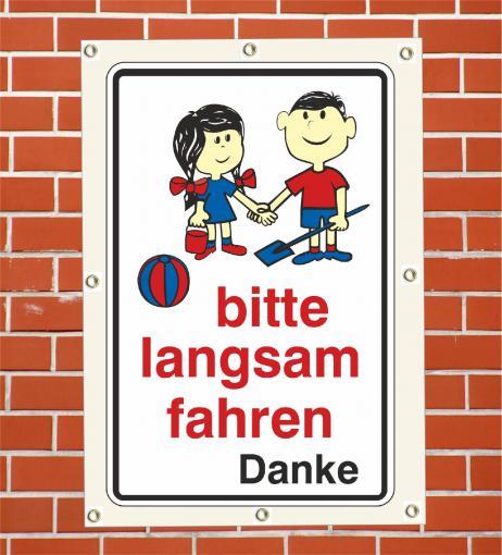 """PVC Plane """"Achtung Kinder bitte ..."""" wetterfeste PVC Plane DIN A2  420 x 594 mm"""