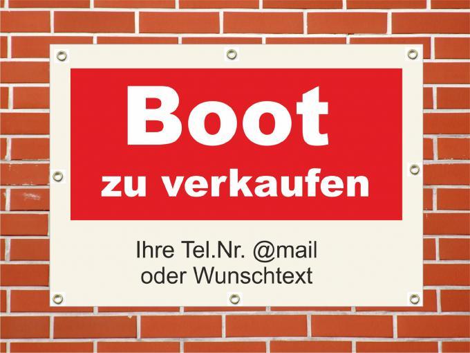 """PVC Plane """"Boot zu verkaufen"""" wetterfeste PVC Plane quer DIN A1  840 x 594 mm"""