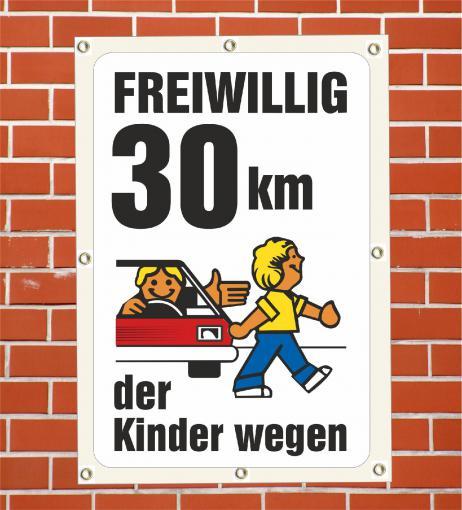 """PVC Plane """"Achtung Kinder freiwillig 30"""" wetterfeste PVC Plane DIN A2  420 x 594 mm"""