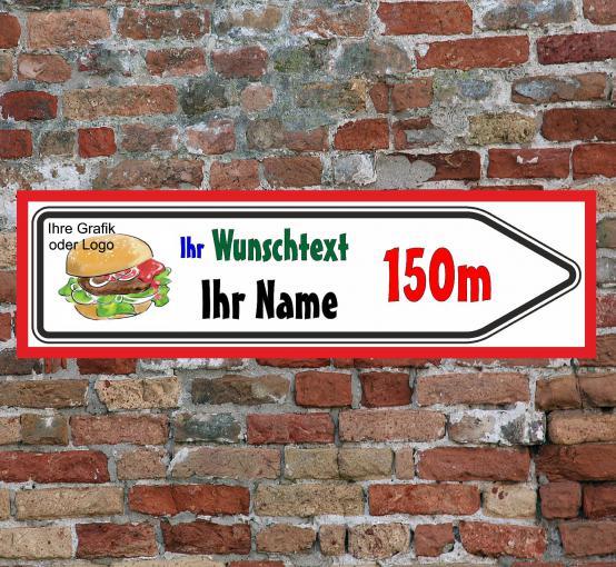 Werbeschild Schild Firmenschild Wegweiser Infotafel 600x200x8mm