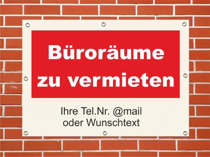 "PVC Plane ""Büroräume zu vermieten"" wetterfest PVC Plane 42 x 59,4 cm quer DIN A2"
