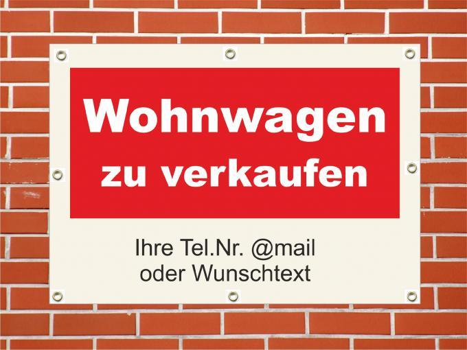 "PVC Plane ""Wohnwagen zu verkaufen"" wetterfeste PVC Plane quer DIN A1  840 x 594 mm"