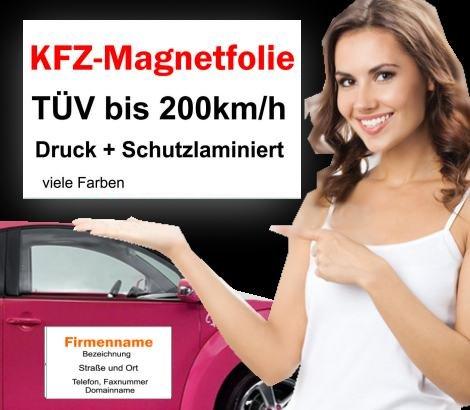 2x  Auto Magnetschild Magnetfolie 40x20cm für  KFZ-Werbung inkl. Digitaldruck