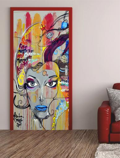 "Türposter""Graffiti Dame"" Türaufkleber Türfolie Türtapete - selbstklebend Nr.82-A"