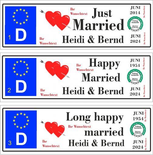 """Automagnetschild """"Just Married  mit TÜV bis 2084 """"  270x70 mm"""