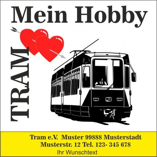 """Automagnetschild """"Mein Hobby - Tram"""" 100x 100mm"""