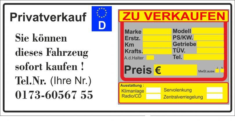 """Schild Hinweisschild Magnetplatte 3 mm  """"PKW von privat zu verkaufen """""""