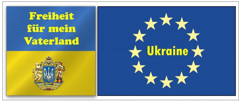 """Automagnetschild Schild Aufkleber """"Ukraine-Freiheit-Europa  """"  270x80 mm"""