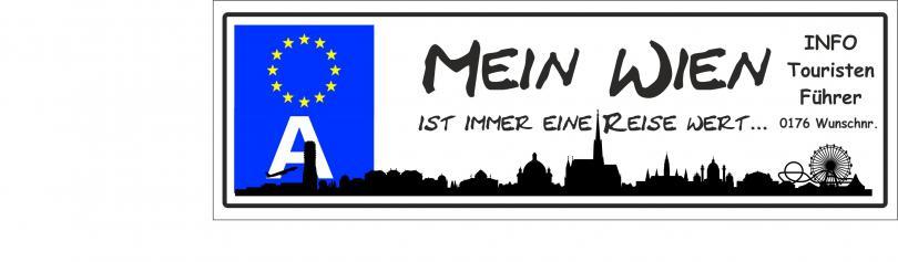 """Automagnetschild Schild """" Mein Wien ist eine Reise wert...""""  270x70 mm"""