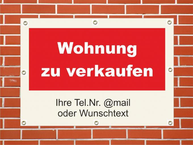 "PVC Plane ""Wohnung zu verkaufen"" wetterfeste PVC Plane quer DIN A1  840 x 594 mm"