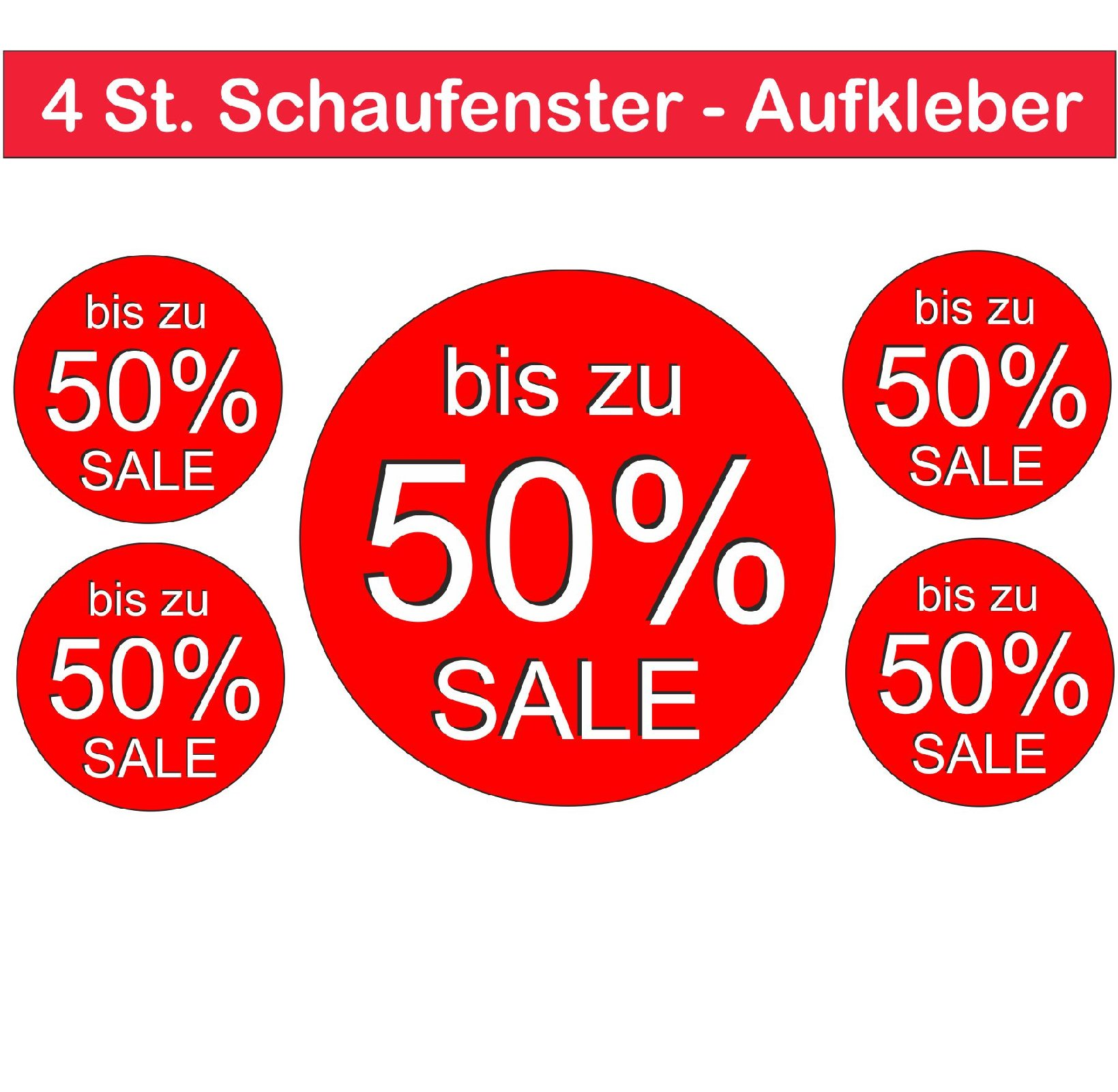 3a5fecc95979d3 Räumungsverkauf 50% SALE Aufkleber 4 St.Außen Schaufenster Prozent  Digitaldruck