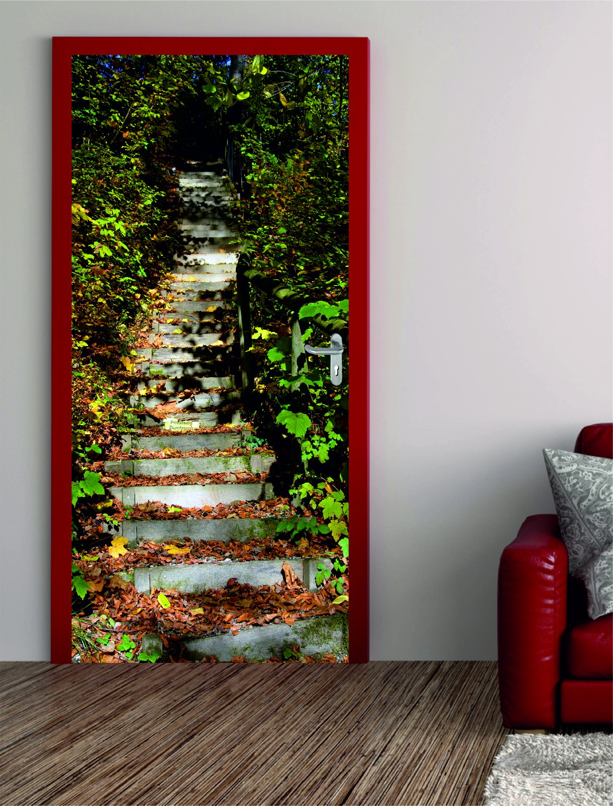 digitaldruck t rposter waldtreppe. Black Bedroom Furniture Sets. Home Design Ideas